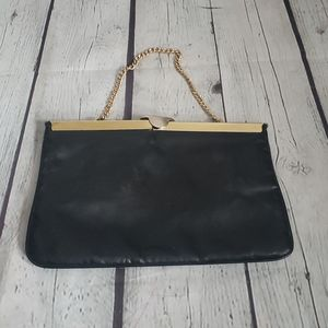 Vintage Black Structured Gold Chain Purse Clutch